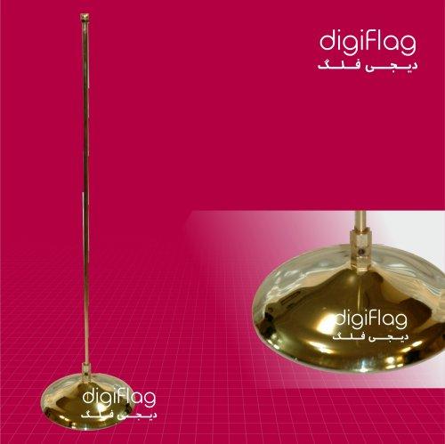 پایه پرچم رومیزی استیل طلایی